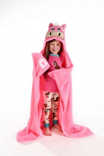 LazyOne Hooded 'Critter' Fleece Blanket in Pink